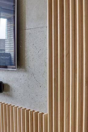 Concrete & Oak Fin Wall, Warehouse Style Apartment in Shoreditch, London