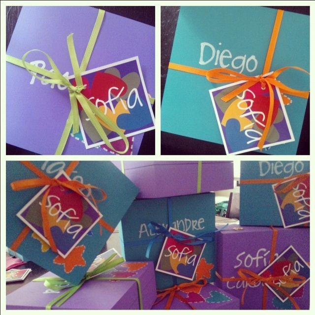 Caja de madera para regalos en fiesta infantil