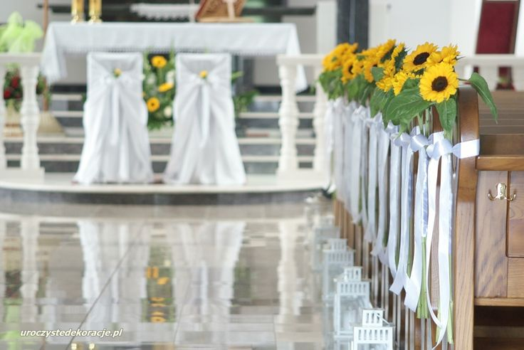 Dekoracje ławek na ślub, dekoracje kościołów, dekoracje ze słoneczników, wedding decorations