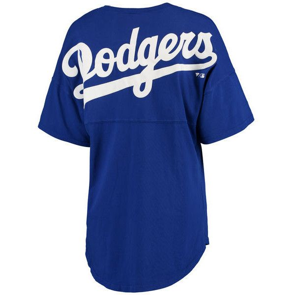 Women's Los Angeles Dodgers Royal Oversized Spirit Jersey V-Neck... ($55) ❤ liked on Polyvore featuring tops, t-shirts, blue t shirt, jersey t shirt, major league baseball t shirts, blue dodgers jersey and oversized v neck t shirt