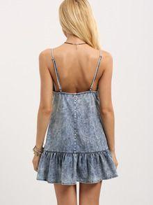 Vestido tirante fino sin espalda volantes -azul-Spanish SheIn(Sheinside)