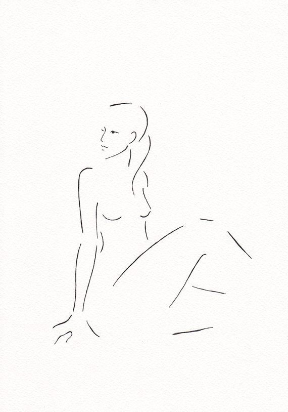 Minimalist drawing. Black and white nude figure. Original by siret