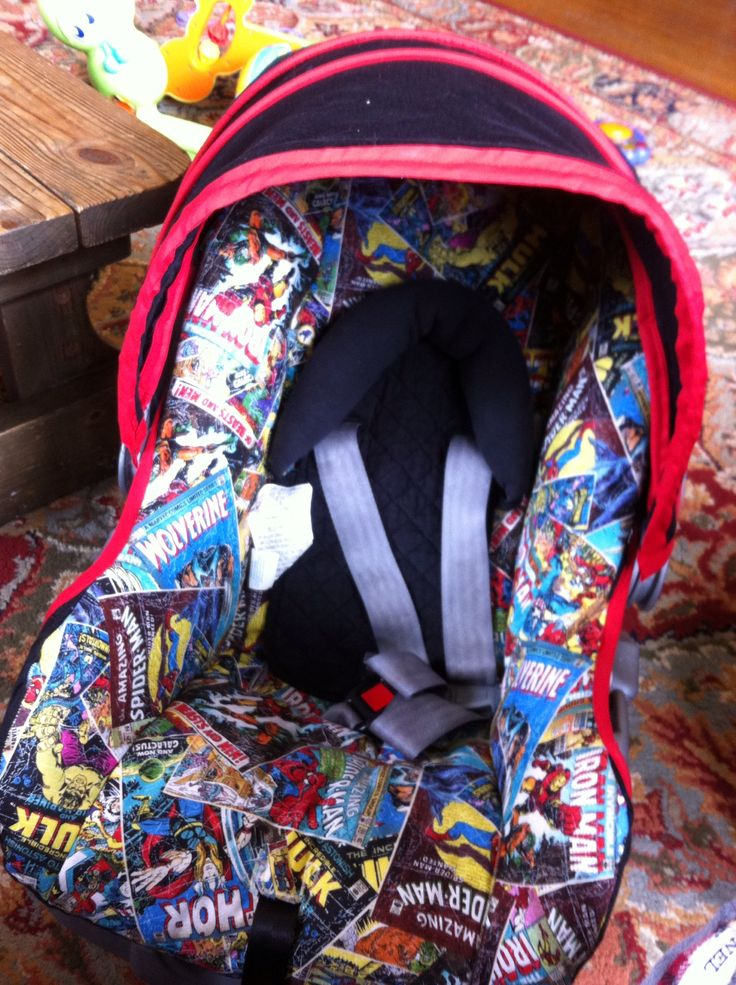 I made this for my youngest son, I got a free pink pooh carseat, that wasn't expired, and recovered the existing fabric with this marvel comic fabric, overall cost for the whole thing was less than twenty dollars!!!