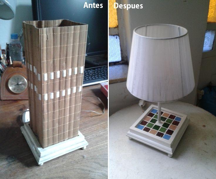 Esta lámpara de mesa quedó completamente transformada. Utilicé venecitas, pintura y una nueva pantalla