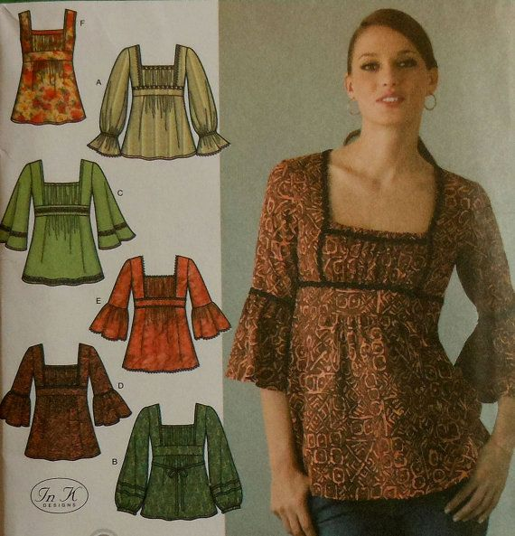 Please note: This is a pattern...not the finished piece.    Tunic Style Top Sewing Pattern  Sizes 4-12  UNCUT    Simplicity 4022    Includes