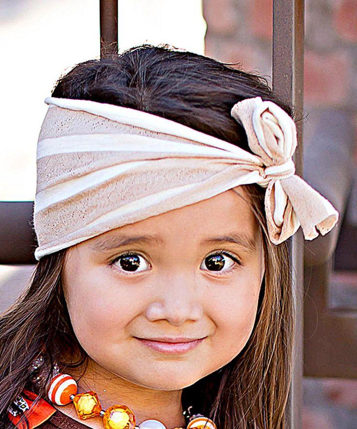 Tan Stripe Bow Headband by Little Miss Fairytale #zulily #zulilyfinds