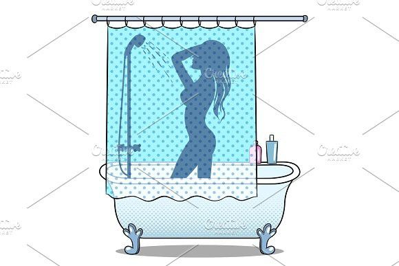 Woman washing in shower pop art style vector  vector  isolated e4e9ee4973