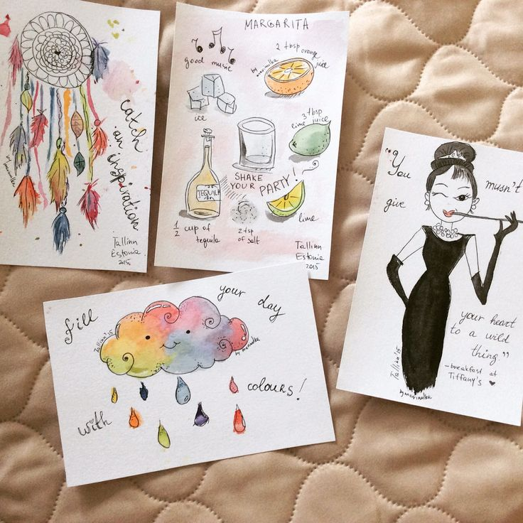 Watercolor postcards for the girls party