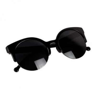 Unisex Retro Designer Super Round Circle Cat Eye Semi Rimless Black. Cute and elegance REPIN if you agree.😊 Only 67.5 IDR