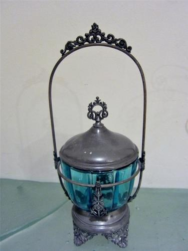 Victorian silverplate blue glass condiment jar & holder at www.connectibles.net
