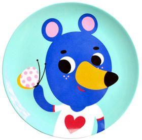 Blue Bear Melamine Plate from Peanut & Pip #blue #tableware #bear