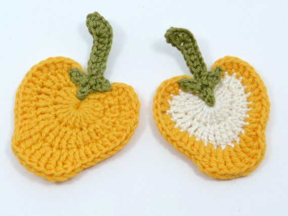 Crochet applique 2 crochet peppers. Cards by MyfanwysAppliques