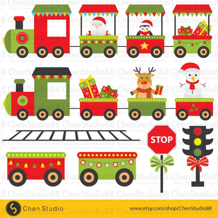 Christmas train vector - Digital Clipart - Instant Download - EPS, PNG files included by ChenStudio88 on Etsy https://www.etsy.com/listing/257888633/christmas-train-vector-digital-clipart