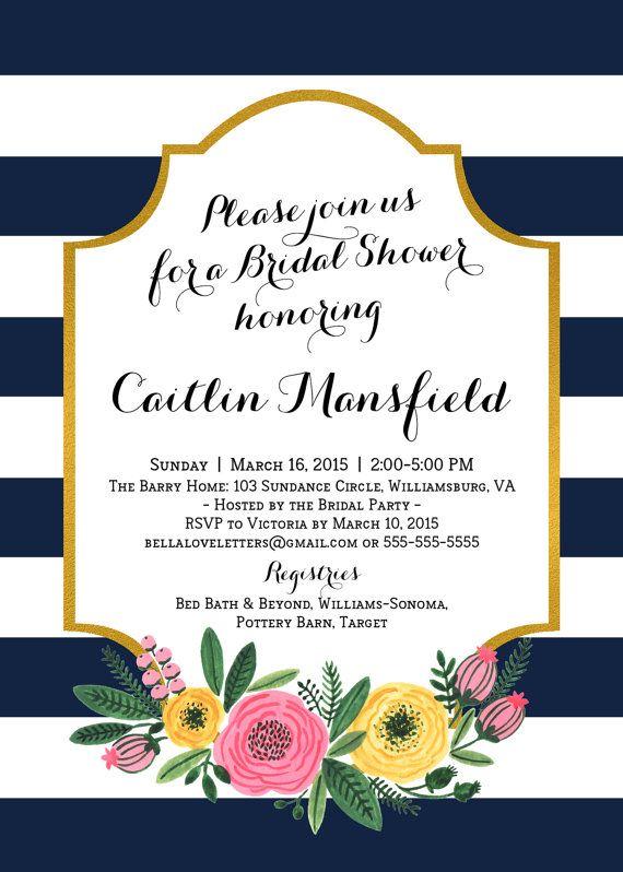 Navy White Stripe Flower Shower Invitation by bellaloveletters
