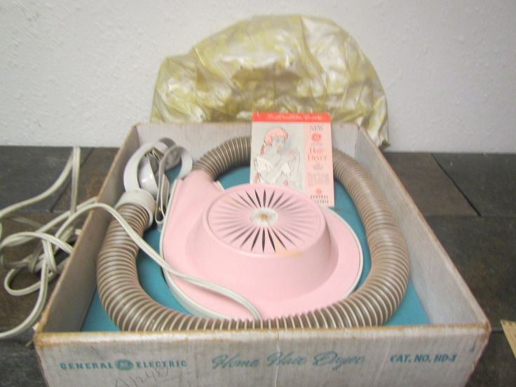 Vintage Pink HOME HAIR DRYER H D-1, General Electric , 4 settings, strap and Bonnet : midcentury by mauryscollectibles on Etsy