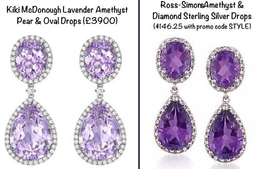 For the beautiful Kiki McDonough Lavender Amethysts, this is the Ross-Simons Amethyst Sterling Silver Diamond Drop earring, $146.25 with promo code STYLE.
