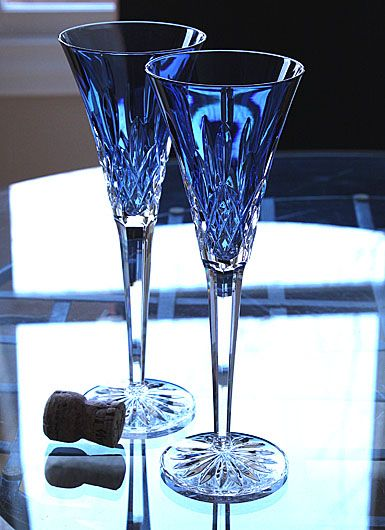 Waterford Lismore Sapphire Toasting Flute