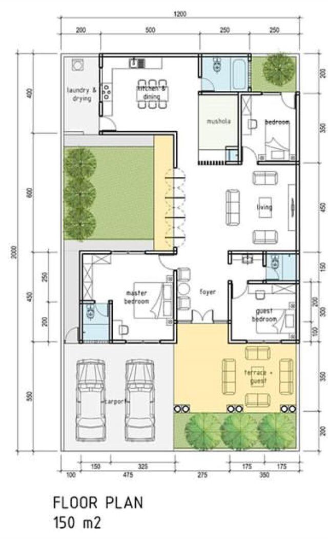 35x60 House Floor Plan Denah Lantai Rumah Denah Rumah Denah Desain Rumah