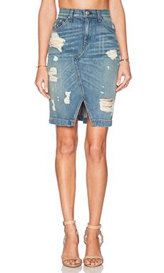 rag & bone/JEAN Denim Skirt in Shredded