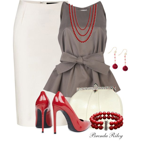 """Red, White & Gray"" by brendariley-1 on Polyvore"