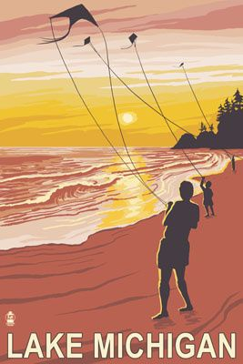 Lake Michigan - Sunset Kite Flyers - Lantern Press Poster