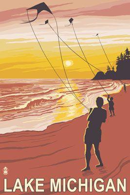 Lake Michigan - Sunset Kite Flyers - Lantern Press Poster