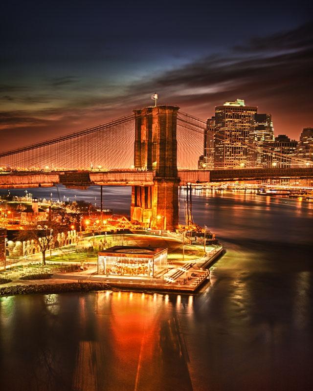 Nighttime of Brooklyn Bridge Park and the Brooklyn Bridge, New York City