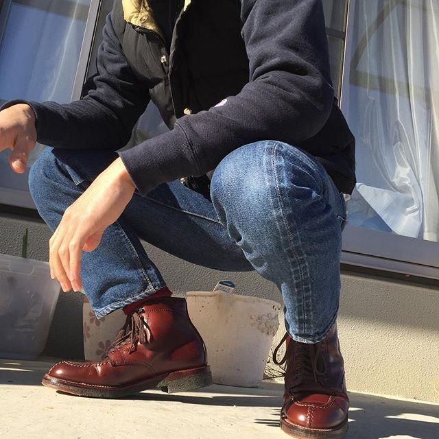2017/01/25 15:23:58 w.shoya.w 上から下までアメリカ祭り🇺🇸 今日はほんと天気が良い☀️ #resolute710 #resolute #crescentdownworks #クレセントダウンワークス #champion #チャンピオン #alden #オールデン #タンカーブーツ #クロムエクセル #💩じゃないよ