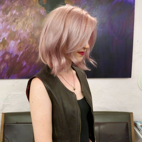 dusty rose and rose gold shimmers for a wavy bob! Seagull Boutique Hair Salon | 212-989-1807 Hair Salon NYC West Village Downtown Manhattan