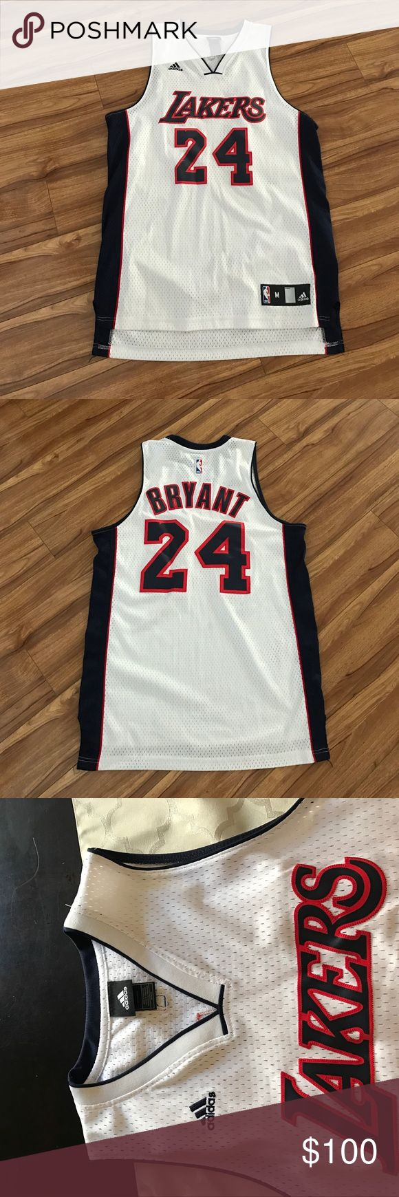 Lakers white jersey Lakers basketball jersey of Kobe Bryant in white and navy adidas Shirts Tank Tops
