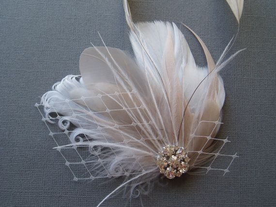Ivory Wedding Hair Clip Bridal Feather Hair Piece by WeeGardens, $35.00