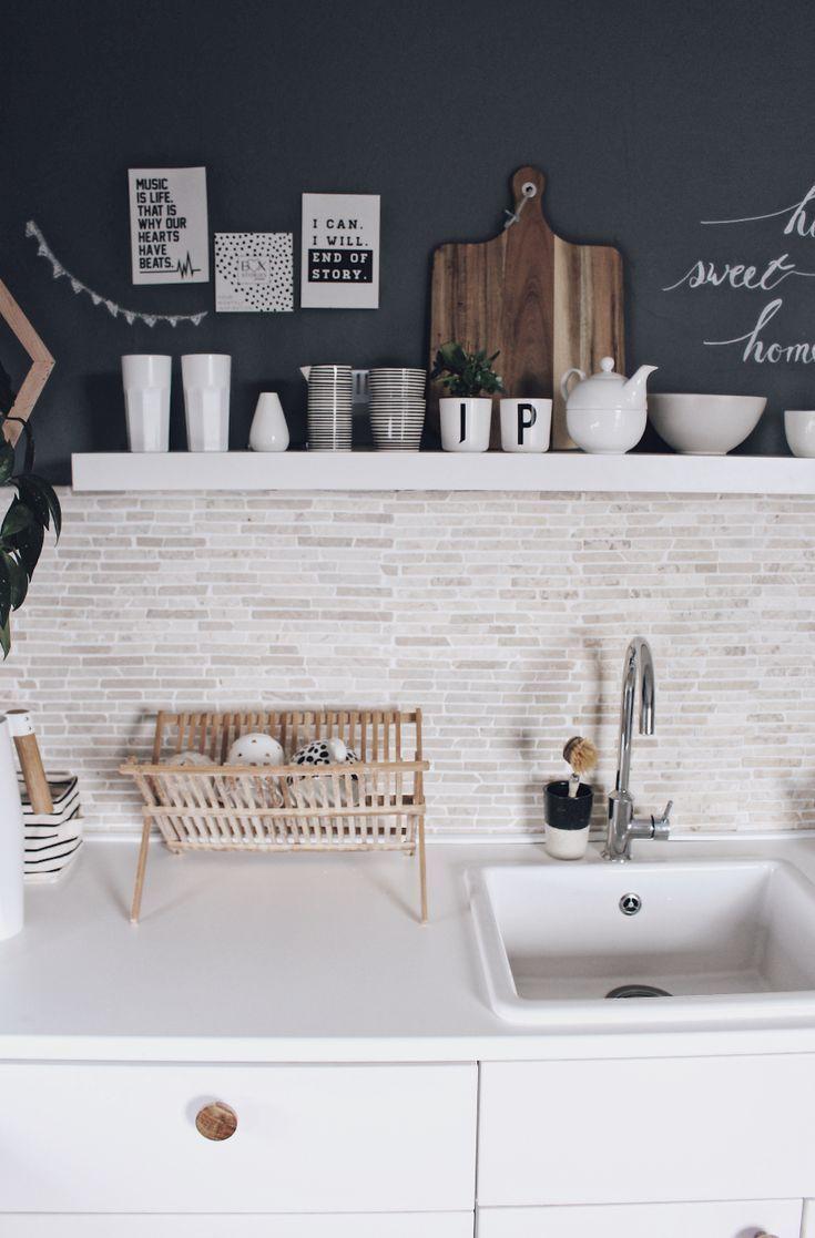 Küchenideen graue wände diy küche neu gestalten  mit tafelfarbe küchenwände schnell und