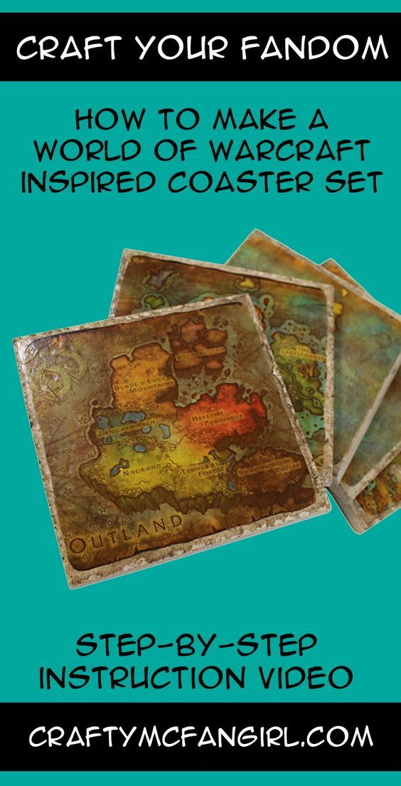 This World of Warcraft WoW Coaster DIY craft tutorial will show you how to make a coaster set featuring the maps of Azeroth. A great gamer craft and gift.
