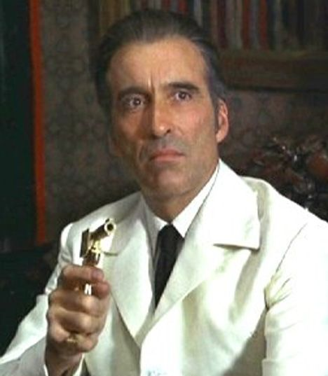 "Christopher Lee as 'Francisco Scaramanga' from ""The Man With The Golden Gun"", (1975)...Mr. Tall Dark and Gruesome, himself Christopher Lee (A Relative of Bond creator Ian Fleming)."