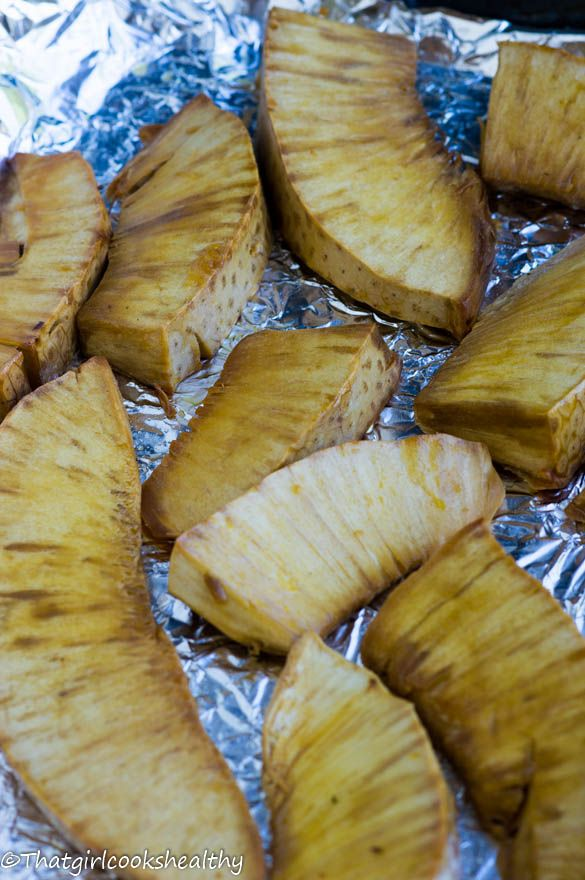 Roasted Breadfruit - A popular savoury fruit with a potato like consistency that's a popular dietary staple in the Caribbean.