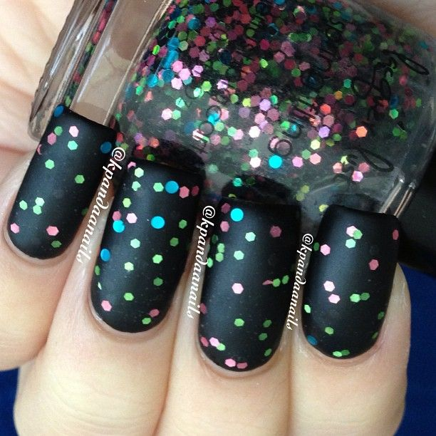Gah! Two coats of Lacquer Lust Spring Fling over black + matte top coat.