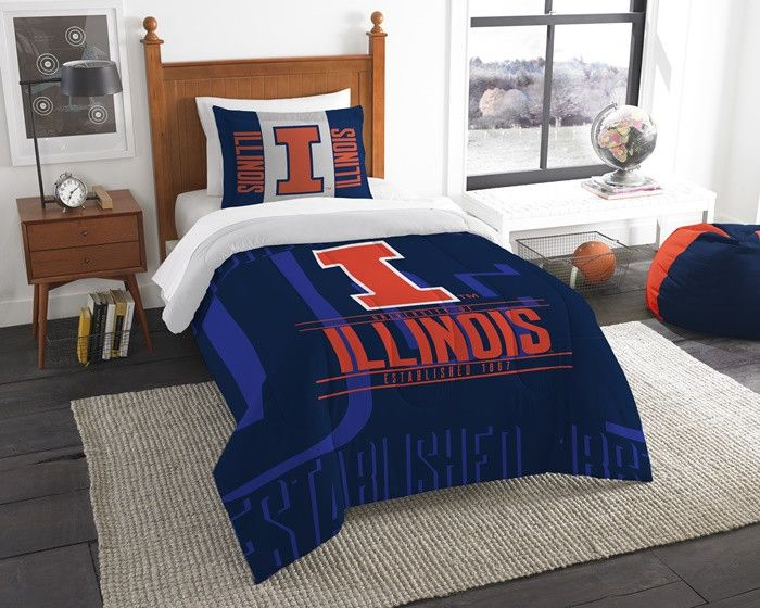 Illinois Fighting Illini Modern Take Twin Comforter Set. Includes 1 Sham and 1 Twin Comforter. Visit SportsFansPlus.com for Details.