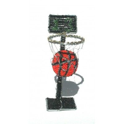 Basketball and basketball hoop wire beaded ornament - wire beaded standing ornament artwork handmade in Africa – handmade to perfection.