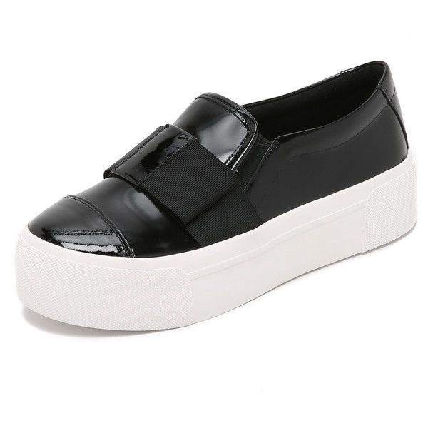 DKNY Banner Bow Slip On Sneakers ($150) ❤ liked on Polyvore featuring shoes, sneakers, black, pull on sneakers, black slip on shoes, dkny sneakers, slipon shoes and platform slip on sneakers