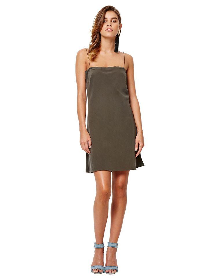 bec and bridge - Classic 100% Silk Mini Dress Khaki