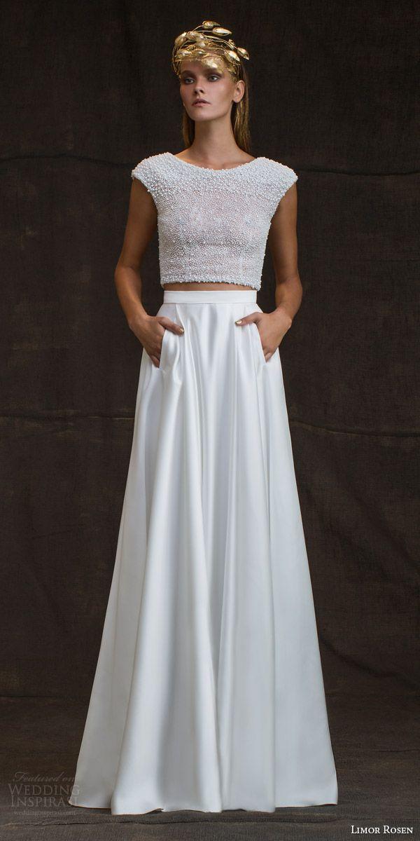 limor rosen bridal 2016 treasure bianca two piece wedding dress pearl cap sleeve top skirt pockets