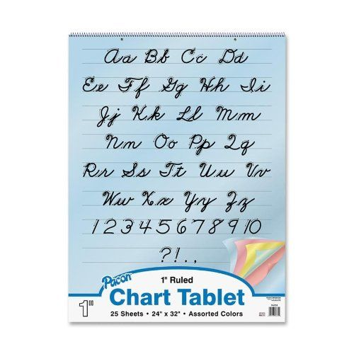"""Pacon Colored Paper Chart Tablet, 24""""X32"""", 1"""" Ruled Cursi..."""