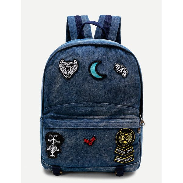 SheIn(sheinside) Moon Patch Denim Backpack ($22) ❤ liked on Polyvore featuring bags, backpacks, navy, blue backpack, denim bag, navy bag, knapsack bag and navy blue backpack