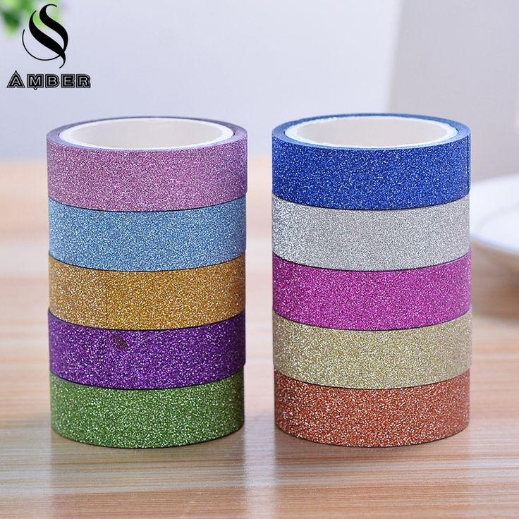 2017 Matorrales Glitter Washi Sticky Rollo DIY Decoración Scrapbooking Etiqueta Adhesiva Cinta Decoración de Papel Adhesivo Útiles Escolares JD6C
