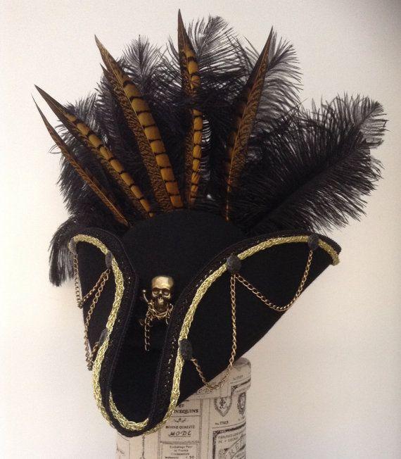 Ebineezer steampunk black and gold Tricorn hat
