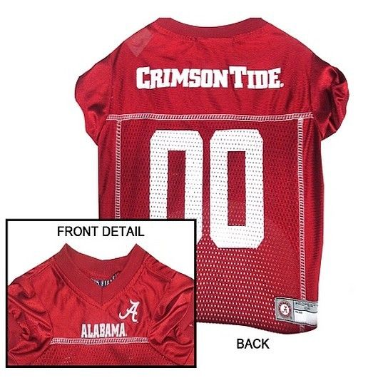 Collar Planet - Alabama Crimson Tide NCAA Licensed Pet Dog Football Jersey (http://www.collarplanetonline.com/alabama-crimson-tide-ncaa-licensed-pet-dog-football-jersey/) Show support for your favorite college team the Crimson Tide with this great looking football dog jersey which features a screened-on logo and a woven patch