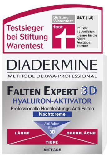 Genuine German Diadermine Wrinkle Expert 3D Hyaluronic Activator Anti Wrinkle Anti Age Night Care Cream 1.7oz. / 50ml by Diadermine. $29.99. Exceptionally skin compatible. Made in Germany & imported from Germany. Overnight moisture infusion. Hyaluron Activator helps to produce more Hyaluronic Acid. Helps to reduce wrinkles on 3 levels - depth, length and on the surface. Diadermine Wrinkle Expert 3D Night Cream is an Anti Wrinkle Anti Age Cream that can help reducing wrinkles on...