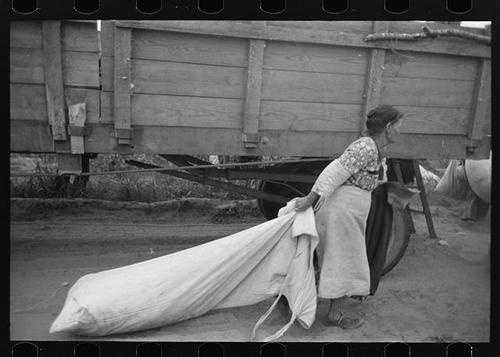 1938 Woman cotton picker dragging bag of cotton in Lake Dick Project, Arkansas
