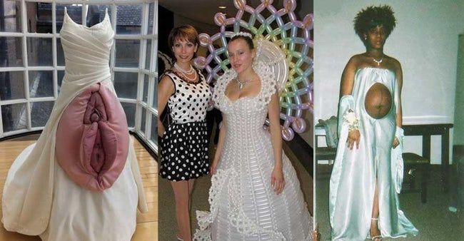 The Absolute Weirdest Wedding Dresses Ever Weird Wedding Dress Wedding Dress Inspiration Wedding Dress Fails