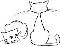 Sketched cats Stock Photography